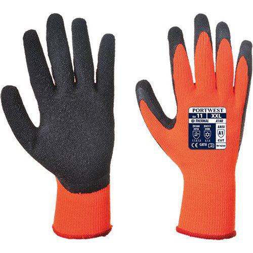 Thermal latex mártott kesztyű, fekete/narancssárga