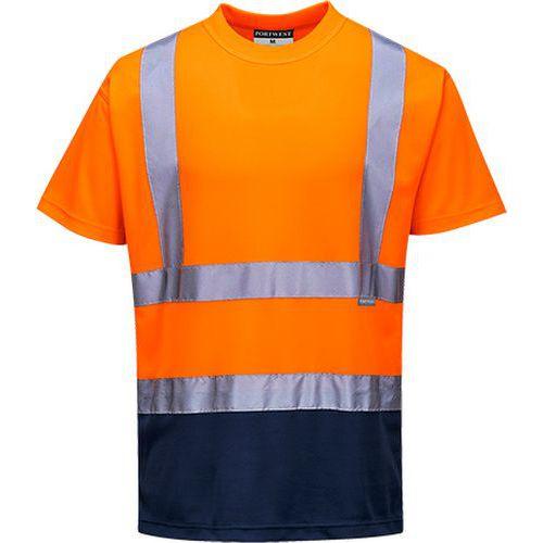 Kéttónusú póló, kék/narancssárga