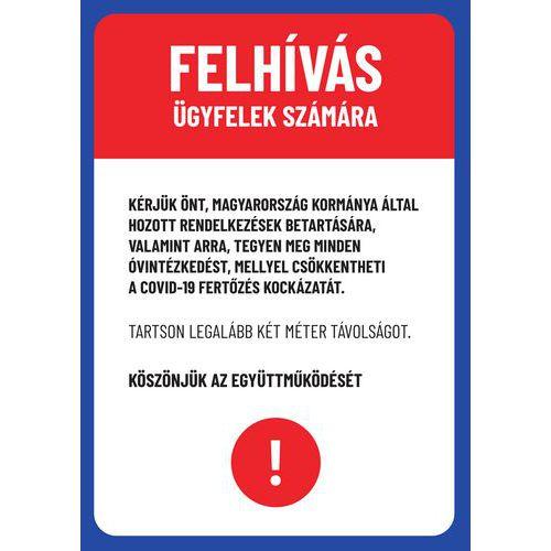 Figyelmeztetés vevőknek, műanyag, 297 x 210 x 0,5 mm, A4