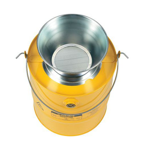 Justrite biztonsági edény gyúlékony anyagokra tölcsérrel, sárga, 19 l