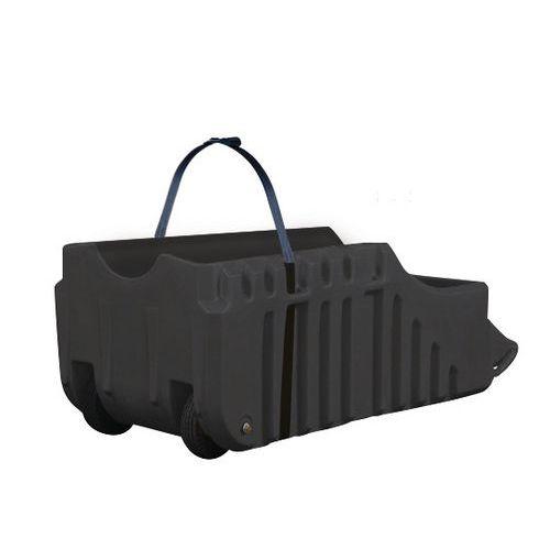 Helyben tartó kocsi Justrite hordókra, újrahasznosítható PE, fekete, 250 l
