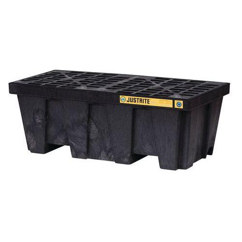 Műanyag kármentő tálca Justrite, újrahasznosított PE, fekete, 250 l