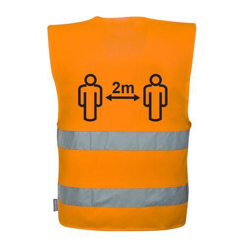 Távolságtartásra figyelmeztető jól láthatósági mellény 2m, narancssárga