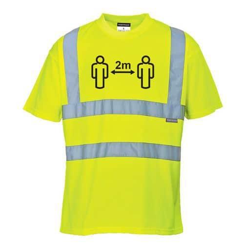 Távolságtartásra figyelmeztető Hi-Vis póló, sárga